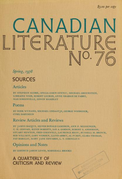 Canadian literature by University of British Columbia