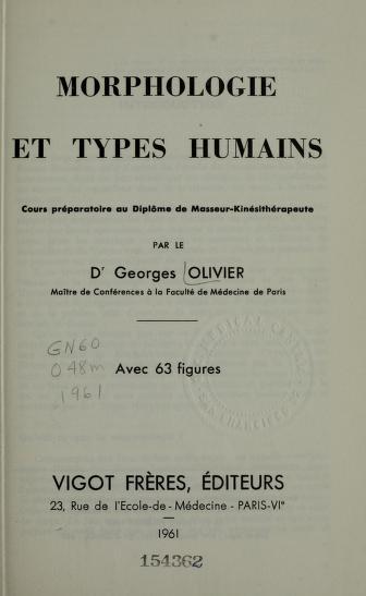 Cover of: Morphologie et types humains   Georges Olivier
